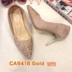 รองเท้าคัทชู ส้นสูง หนังกลิสเตอรืแต่งคลิสตัลสวยหรู หนังนิ่ม พื้นนิ่ม ใส่สบาย ส้นสูงประมาณ 3.5 นิ้ว แมทสวยได้ทุกชุด (CA9418)