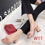 รองเท้าแฟชั่น ส้นสูง คาดหน้าพลาสติกใสนิ่มแต่งเฟอร์กลมสวยน่ารัก ทรงสวย ส้นสูงประมาณ 2.5 นิ้ว แมทสวยได้ทุกชุด (936-25)