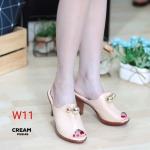 รองเท้าแฟชั่น ส้นสูง แบบสวม แต่งอะไหล่กลมสวยหรู หนังนิ่ม ทรงสวยเก็บหน้าเท้า ส้นสูงประมาณ 3 นิ้ว ใส่สบาย แมทสวยได้ทุกชุด (PU6146)