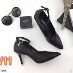 รองเท้าคัทชู ส้นสูง รัดข้อ แต่งอะไหล่ตุ้งติ้งเพชรสวยหรู หนังนิ่ม ทรงสวย ส้นสูงประมาณ 3 นิ้ว ใส่สบาย แมทสวยได้ทุกชุด (K9188)
