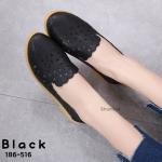 รองเท้าคัทชู ส้นเตี้ย ทรง sip on แต่งหนังฉลุลายสวยหวานน่ารัก ใส่สบาย แมทสวยได้ทุกชุด (186-516)