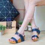 รองเท้าแฟชั่น ส้นเตารีด แบบคาด 2 ตอน แต่งอะไหล่สวยเก๋ ทรงสวย ส้นสูงประมาณ 2.5 นิ้ว ใส่สบาย แมทสวยได้ทุกชุด (PU6050)