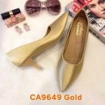 รองเท้าคัทชู ส้นเตี้ย สวยเรียบหรู หนังนิ่ม พื้นนิ่ม ใส่สบาย ส้นสูงประมาณ 2.5 นิ้ว แมทสวยได้ทุกชุด (CA9649)