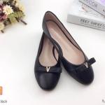 รองเท้าคัทชู ส้นแบน ทรงหัวมน แต่งโบว์ประดับเพชรสวยน่ารัก หนังนิ่ม ใส่สบาย แมทสวยได้ทุกชุด (K5914)