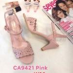 รองเท้าแฟชั่น ส้นสูง แบบสวม รัดส้น แต่งฉลุลายดอกไม้สวยหวาน หนังนิ่ม ส้นสูงประมาณ 3 นิ้ว ใส่สบาย แมทสวยได้ทุกชุด (ฺCA9421)