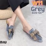 รองเท้าคัทชู เปิดส้น กำมะหยี่แต่งโบว์เพชรคลิสตัลสวยหรู ทรงสวย ใส่สบาย แมทสวยได้ทุกชุด (609-54)