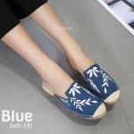 รองเท้าคัทชู เปิดส้น ผ้าแคนวาสแต่งลายใบไม้สวยเรียบเก๋ ใส่สบาย แมทสวยได้ทุกชุด (345-101)