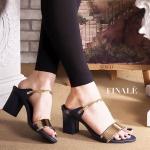 รองเท้าแฟชั่น ส้นสูง แต่งคาดทองสวยหรู ทรงสวย หนังนิ่ม ใส่สบาย ส้นสูงประมาณ 3 นิ้ว แมทสวยได้ทุกชุด