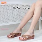 รองเท้าแฟชั่น ส้นเตารีด แบบสวม หนังสักหราดนิ่ม พื้นนิ่ม ทรงสวยเก็บหน้าเท้า ใส่สบาย แมทสวยได้ทุกชุด (Pf2252)