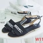 รองเท้าแตะแฟชั่น แบบสวม รัดข้อ แต่งโซ่ด้านหน้าสวยเก๋ ใส่สบาย แมทสวยได้ทุกชุด (FT-543)