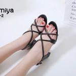 รองเท้าแฟชั่น ส้นสูง รัดส้น ดีไซน์หนังสานไขว้สวยเก๋ ส้นสูงประมาณ 2.5 นิ้ว ใส่สบาย แมทสวยได้ทุกชุด (B7925-2)