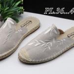 รองเท้าคัทชู เปิดส้น ผ้าปักลายใบไผ่แต่งขอบเชือกถักสไตล์วินเทจสวยเรียบเก๋ วัสดุอย่างดี ใส่สบาย แมทสวยได้ทุกชุด (345-131)