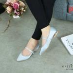 รองเท้าคัทชู ส้นเตี้ย คาดกลางเพิ่มความกระชับ ส้นแต่งกลิสเตอร์สีรุ่งสวยหรู หนังนิ่ม ทรงสวย ใส่สบาย แมทสวยได้ทุกชุด (G711318)