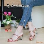 รองเท้าแฟชั่น ส้นสูง แบบสวม ดีไซน์หนังเงาเส้นแต่งอะไหล่สวยหรู ส้นใสอินเทรนด์ ทรงสวย หนังนิ่ม ใส่สบาย ส้นสูงประมาณ 3 นิ้ว แมทสวยได้ทุกชุด (M1837)