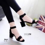 รองเท้าแฟชั่น แบบสวม รัดข้อ หนังกำมะหยี่เรียบหรู สวมใส่ง่ายด้วยสายหลัง ตะขอเกี่ยว ดูดี แมทสวยได้ทุกชุด สีดำ เทา ครีม (G12-19)