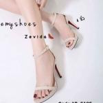 รองเท้าแฟชั่น ส้นสูง รัดข้อ หนังสักหราดสวยเรียบหรู หนังนิ่ม ทรงสวย ส้นสูงประมาณ 4 นิ้ว ใส่สบาย แมทสวยได้ทุกชุด (17-5105)