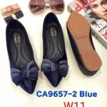 รองเท้าคัทชู ส้นแบน แต่งโบว์สวยน่ารัก หนังนิ่ม ทรงสวย ใส่สบาย แมทสวยได้ทุกชุด (CA9657-2)