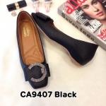 รองเท้าคัทชู ส้นเตี้ย แต่งอะไหล่เข็มขัดเพชรด้านหน้าสวยหรู หนังนิ่ม ทรงสวย ใส่สบาย แมทสวยได้ทุกชุด (CA9407)