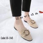 รองเท้าคัทชู เปิดส้น หนังสักหราดแต่งอะไหล่สวยเก๋ ทรงสวย หนังนิ่ม ใส่สบาย แมทสวยได้ทุกชุด (18-1345)