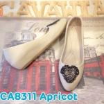 รองเท้าคัทชู ส้นเตี้ย ส้นเตารีด แต่งอะไหล่เพชรด้านหน้าสวยหรู หนังนิ่ม ใส่สบาย ทรงสวย สูงประมาณ 2 นิ้ว แมทสวยได้ทุกชุด (CA8304)