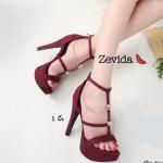 รองเท้าแฟชั่น ส้นสูง รัดข้อ ดีไซน์หนังเส้นแต่งโซ่ทองด้านข้างสวยเก๋ ทรงสวย ใส่สบาย ส้นสูงประมาณ 5 นิ้ว เสริมหน้า แมทสวยได้ทุกชุด (17-1274)