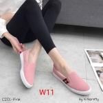 รองเท้าผ้าใบแฟชั่น ทรง slip on แต่งลายสไตล์กุชชี่ ทรงสวย หนังนิ่ม ใส่สบาย แมทสวยได้ทุกชุด (C201)