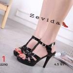 รองเท้าแฟชั่น ส้นสูง รัดส้น แบบสวม สไตล์อีฟแซงหนังเงาแต่งหมุดสุดเก๋ หนังนิ่ม ส้นสูงประมาณ 4.5 นิ้ว ใส่สบาย แมทสวยได้ทุกชุด (17-2290)
