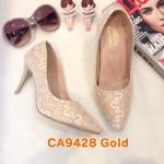 รองเท้าคัทชู ส้นสูง ทรงหัวแหลม แต่งลูกไม้สวยหรู หนังนิ่ม ทรงสวย ส้นสูงประมาณ 3 นิ้ว ใส่สบาย แมทสวยได้ทุกชุด (CA9428)