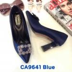 รองเท้าคัทชู ส้นสูง แต่งอะไหล่สวยหรู ทรงสวย ส้นเหลี่ยมสวยเก๋ หนังนิ่ม ส้นสูงประมาณ 3.5 นิ้ว ใส่สบาย แมทสวยได้ทุกชุด (CA6941)