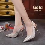 รองเท้าคัทชู ส้นสูง รัดส้น หนังเงาลายริ้วสวยหรู ทรงสวย หนังนิ่ม ส้นสูงประมาณ 3.5 นิ้ว ใส่สบาย แมทสวยได้ทุกชุด (688-38)