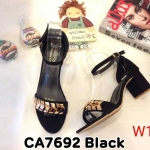 รองเท้าแฟชั่น ส้นสูง แบบสวม รัดข้อ แต่งอะไหล่ทองสวยหรู หนังนิ่ม ทรงสวย ส้นสูงประมาณ 2.5 นิ้ว ใส่สบาย แมทสวยได้ทุกชุด (CA7692)