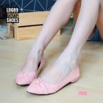 รองเท้าคัทชู ส้นเตี้ย แต่งโบว์ด้านหน้าสวยเก๋ ทรงสวย ส้นประมาณ 1 นิ้ว ใส่สบาย แมทสวยได้ทุกชุด (LD689)