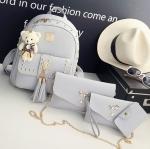 Fashion Korea PU set 4 ใบ (สีเทาอ่อน)