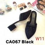 รองเท้าคัทชู เปิดส้น แต่งลายปักสวยหรู หนังนิ่ม ทรงสวย ใส่สบาย แมทสวยได้ทุกชุด (CA067)