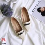 รองเท้าคัทชู ทรง loafer แต่งโซ่ด้านหน้าสวยเก๋ ทรงสวย หนังนิ่ม ใส่สบาย แมทสวยได้ทุกชุด (17-9252)