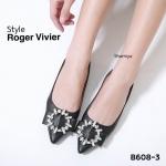 รองเท้าคัทชู ส้นแบน แต่งเพชรคลิสตัลสวยหรู ทรงสวย หนังนิ่ม ใส่สบาย แมทสวยได้ทุกชุด (B608-3)