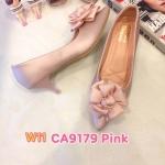 รองเท้าคัทชู ส้นเตี้ย แต่งดอกไม้ด้านหน้าสวยหวาน หนังนิ่ม ทรงสวย ส้นสูงประมาณ 2 นิ้ว ใส่สบาย แมทสวยได้ทุกชุด (CA9179)