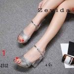 รองเท้าแฟชั่น ส้นสูง รัดส้น หนังกลิสเตอร์วิ้งไขว้หน้าสวยหรู แต่งส้นใสสวยอินเทรนด์ ทรงสวย หนังนิ่ม ส้นสูงประมาณ 4 นิ้ว ใส่สบาย แมทสวยได้ทุกชุด (17-2312)