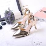 รองเท้าคัทชู ส้นสูง รัดข้อ หนังเงาเมทัลลิคสวยเรียบหรู หนังนิ่ม ทรงสวย ใส่สบาย ส้นสูงประมาณ 3 นิ้ว แมทสวยได้ทุกชุด (G5242)