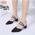 รองเท้าคัทชู เปิดส้น ส้นเตี้ย หนังกลิสเตอร์เป็นประกายสวยหรู สายรัดส้นใส่ได้ 2 แบบ แบบเปิดส้นหรือแบบรัดส้นก็เก๋ ส้นสูงประมาณ 2.5 นิ้ว แมทสวยได้ทุกชุด (B88-6)