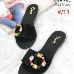 รองเท้าแตะแฟชั่น แบบสวม หนัังกลิสเตอร์แต่งพลอยหลากสีสวยหรู ทรงสวย หนังนิ่ม ใส่สบาย แมทสวยได้ทุกชุด (J324)