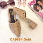 รองเท้าคัทชู เปิดส้น หนังกลิสเตอร์แต่งคลิสตัลและลายฉลุสวยหรู ทรงสวย ส้นสูงประมาณ 2 นิ้ว ใส่สบาย แมทสวยได้ทุกชุด (CA9554)