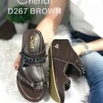 รองเท้าแฟชั่น ส้นเตารีด แบบสวม แต่งโซ่สวยเก๋เรียบหรู สวมใส่สบาย พื้นนิ่ม หนังนิ่ม ใส่สบาย แมทสวยได้ทุกชุด (D267)