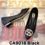 รองเท้าคัทชู ส้นเตี้ย แต่งอะไหล่เพชรด้านหน้าสวยหรู หนังนิ่ม ใส่สบาย ทรงสวย ส้นเคลือบเงาแต่งขอบทอง สูงประมาณ 1.5 นิ้ว แมทสวยได้ทุกชุด (CA9018)