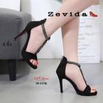รองเท้าแฟชั่น ส้นสูง รัดส้น แต่งโซ่ด้านหน้าสไตล์แบรนด์สวยเก๋ ด้านหลังซิปใส่ง่าย ส้นสูง 4 นิ้ว น้ำหนักเบา หนังนิ่ม ทรงสวย ใส่สบาย แมทสวยได้ทุกชุด (18-1336)