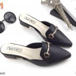 รองเท้าคัทชู เปิดส้น ส้นเตี้ย แต่งอะไหล่เรียบหรูดูดี ทรงสวย หนังนิ่ม ส้นสูงประมาณ 1 นิ้ว ใส่สบาย แมทสวยได้ทุกชุด (KT15)