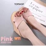 รองเท้าแฟชั่น ส้นเตารีด แบบสวม หน้าไขว้ หนังลายเรียบเก๋ เก็บหน้าเท้า ส้นสูงประมาณ 4.5 นิ้ว เสริมหน้า ใส่สบาย แมทสวยได้ทุกชุด (3082-106)