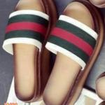 รองเท้าแฟชั่น ส้นมัฟฟิน แบบสวม คาดหน้าแต่งแถบสีสวยเก๋สไตล์แบรนด์ ส้น PU เบา ใส่สบาย แมทสวยได้ทุกชุด