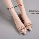รองเท้าคัทชู ส้นแบน ทรงหัวแหลม แต่งหนังนิ่มจับจีบระบาย ประดับอะไหล่โซ่สวยหรูน่ารัก ด้านบุนวมนิ่มมาก น้ำหนักเบาทรงสวย ใส่สบาย แมทสวยได้ทุกชุด (17-9255)