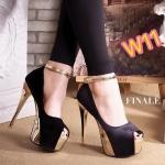 รองเท้าคัทชู ส้นสูง รัดข้อ พื้นและส้นทองสวยสง่า เปิดนิ้วเล็กน้อย ทรงสวยเพรียว ส้นสูงประมาณ 6 นิ้ว เสริมหน้าประมาณ 2 นิ้ว ใส่ไปงานสวยหรูสง่าทุกชุด